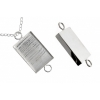 Bezel Handmade Link Rectangle 19x29x4mm Silver Plated